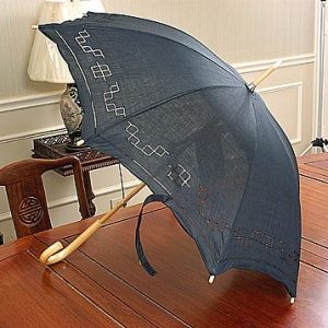 Black Cotton Parasol. With Hemstitching Edge.19.5″