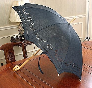 Black parasols, black hemstitch parasols, black cotton parasol