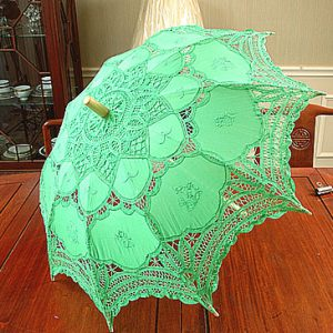 Mint Green color battenburg lace parasol. 16″