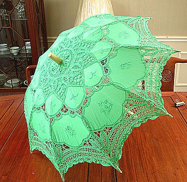 Kelly Green colored lace parasols