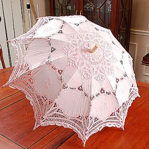 Candy Pink color Battenburg Lace Parasols. 16″.