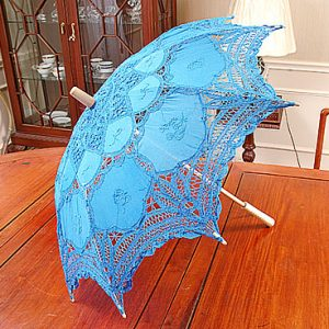 French Blue color Battenburg Lace Parasols 16″