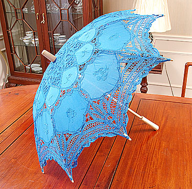 French Blue colored lace parasol