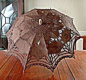 chocolate fondant colored lace parasol