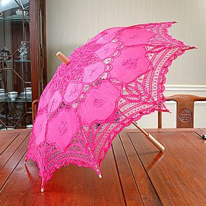 Fuchsia Rose Pink Battenburg Lace Parasols. 16″