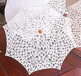 White Lace Parasol. Allover Lace. 13″