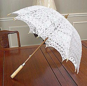 Battenburg Lace parasol. With Allover lace. White. 15″