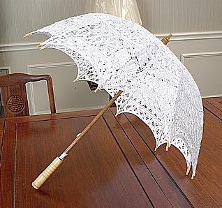 White battenburg lace parasol.